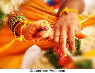 matrimonio, boda, india, manos