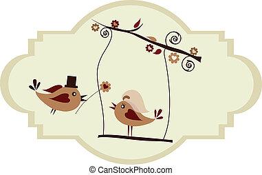 matrimonio, card;, sposo, uccello, dare, uno, fiore