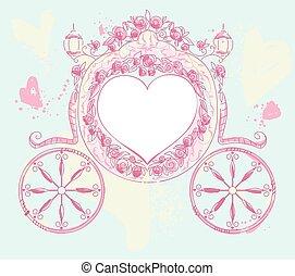 matrimonio, carrello, cuore ha modellato