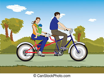 matrimonio, con, bebé, en una bicicleta