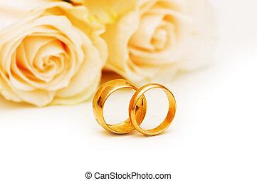 matrimonio, concetto, con, rose, e, dorato, anelli