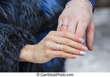 matrimonio, donna, anello, uomo, mani