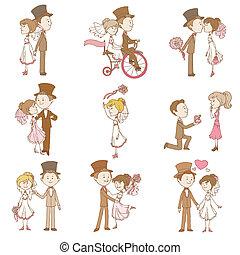 matrimonio, doodles, -, disegni elementi, -, per, album,...