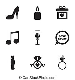 matrimonio, fidanzamento, icons., anello, con, diamond.
