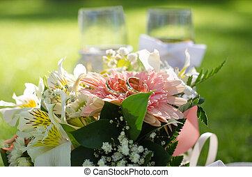 matrimonio, fiori, occhiali, fondo, anelli, rosa