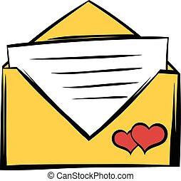 matrimonio, icona, cartone animato, invito