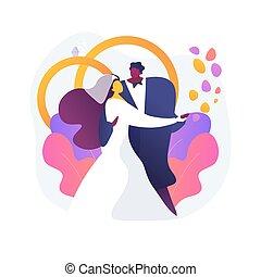 matrimonio, illustration., vettore, astratto, mescolato, concetto