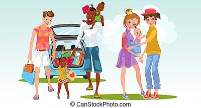 matrimonio interrazziale, cartone animato, famiglia, lesbica