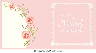 matrimonio, invitation., campione, per, cartolina, con, rose dentellare