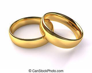 matrimonio, oro, anelli