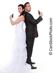 matrimonio, problema, discordia, novia, novio, con, arma de fuego