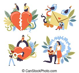 matrimonio, propuesta, arriba, cortejo, relación, etapas, interrupción