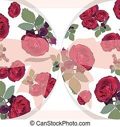 matrimonio, rose rosse, scheda, con, arco