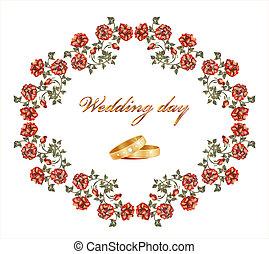 matrimonio, scheda, con, rose rosse, e, anelli
