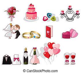 matrimonio, set, cartone animato, icona