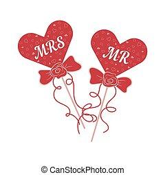 matrimonio, signora, vettore, bastone, sig., cuori