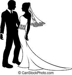 matrimonio, silhouette, sposa, sposo, coppia