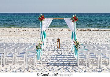 matrimonio, spiaggia, passaggio ad arco