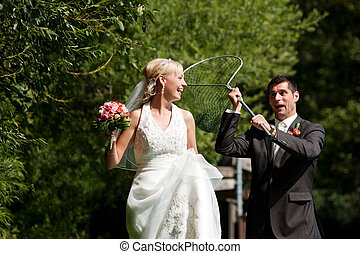 matrimonio, -, sposo, presa, suo, sposa, con, bagni rete
