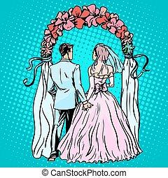 matrimonio, sposo, sposa, altare