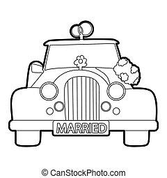 matrimonio, stile, icona, automobile, contorno