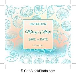 matrimonio, su, spiaggia, invito, disegno