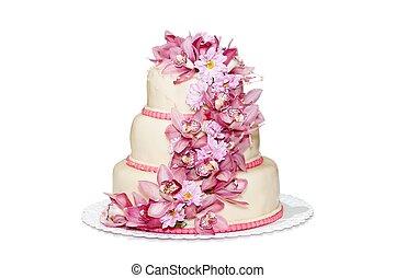 matrimonio tradizionale, torta, con, orchidea, fiori