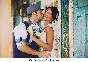 matrimonio, vecchio, cappello, stile