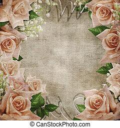 matrimonio, vendemmia, romantico, fondo, con, rose