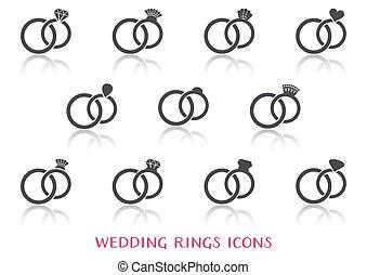 matrimonio, vettore, anelli, icone