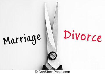 matrimonio, y, divorcio, palabras, con, tijeras, en, medio