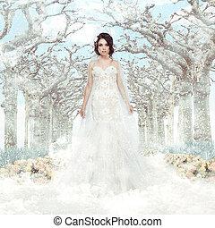 matrimony., fantasy., hiver, surgelé, sur, arbres, mariée, robe blanche, flocons neige