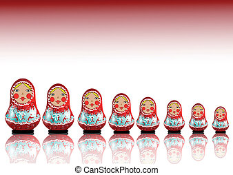 matrioshka - 7 matryoshka dolls lined up in a row
