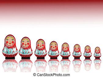 matrioshka - 7 matryoshka dolls lined up in a row