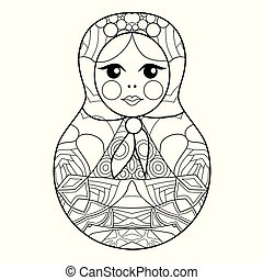 Matrioshka for coloring page or decoration for children -...