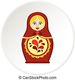 Matrioshka icon circle - Matrioshka icon in flat circle...