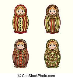 Matrioshka or nesting dolls set isolated on white...