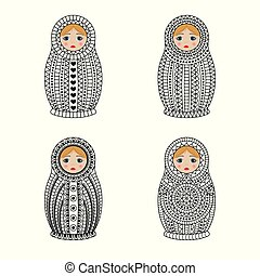 Matrioshka or nesting dolls set isolated on white...