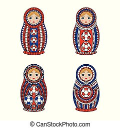 Matrioshka or nesting dolls set isolated on white background. Matroska is painted in national colors of Russia and has an ornament with football pattern