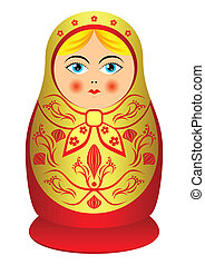 Matrioshka. - Russian souvenir nested doll. The isolated...