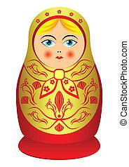 Matrioshka. - Russian souvenir nested doll. The isolated...
