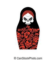 Matrioshka skull. Russian folk doll death. National Nested doll grim Reaper. Traditional toy in Russia. Souvenir for halloween