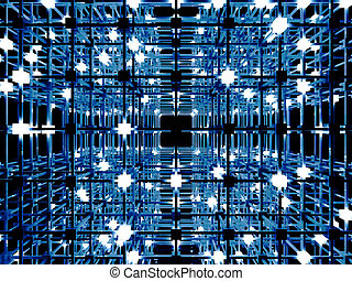 Matrix - 3D rendered Illustration. A glowing grid.