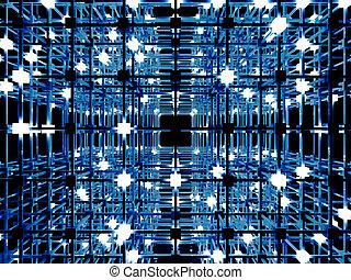 Matrix - 3D rendered Illustration. A glowing grid.