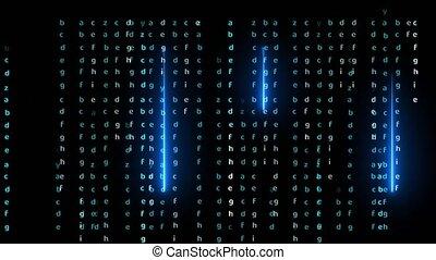 Matrix alphabet and blue laser abstract light effect falling on black screen