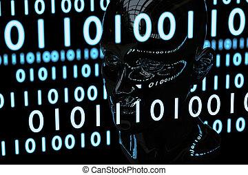 matrix, code, und, menschlicher kopf, chrom, material