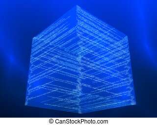 matrix cube - 3d rendered illustration of a digital ...