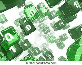 matrix - 3d illustration of green cubes matrix over white...