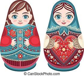 Matryoshka. Babushka doll. Coloful cute set. Russian culture...