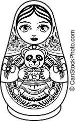 Matryoshka. Babushka doll. - Matryoshka. Russian folk wooden...